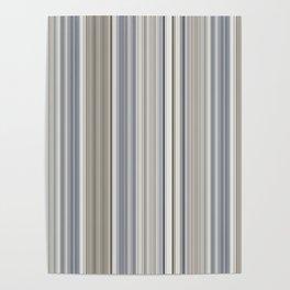 Blue grey Tan Stripes Poster