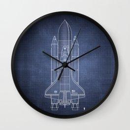NASA Space Shuttle Blueprint in High Resolution (dark blue)  Wall Clock