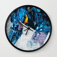 pacific rim Wall Clocks featuring Pacific Rim: Gipsy Danger by Bolin Cradley Art