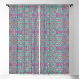 Birds Arabesque Boho Bohemian Pattern Turquoise Fuchsia Blackout Curtain