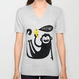 Monkey with banana In Fine Unisex V-Neck