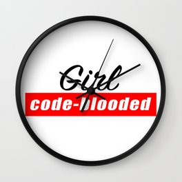 Code - blooded girl Wall Clock