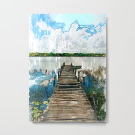 Old Wooden Jetty By Lake - Jetties Around The World Metal Print