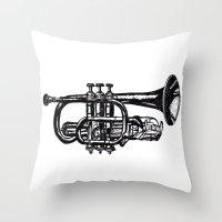 trumpet Throw Pillows featuring Trumpet by Shannon Hansen
