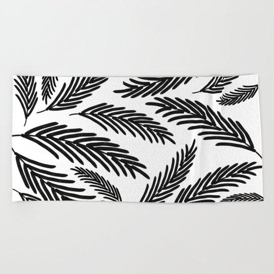 Palms Leaves on White Beach Towel