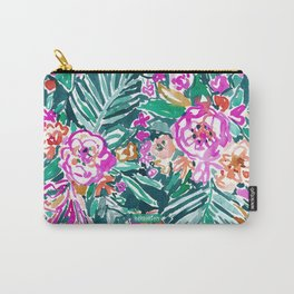 TROPICAL FEELS Begonia Palm Watercolor Pattern Carry-All Pouch