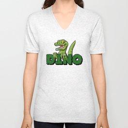 Cute dinosaur cartoon and lettering Unisex V-Neck
