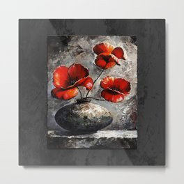 Poppies style black Metal Print