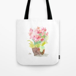 Watercolor Spring Flowers in a Clay Pot Tote Bag