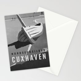 retro b/w Nordseeheilbad Cuxhaven travel poster Stationery Cards