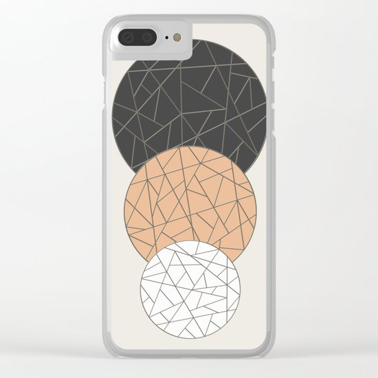 TRIAD ON BEIGE (abstract circles) Clear iPhone Case