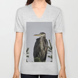 Tree Top Heron at Dawson Creek Park Unisex V-Neck