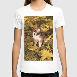 Cute puppy in autumn leaves T-shirt