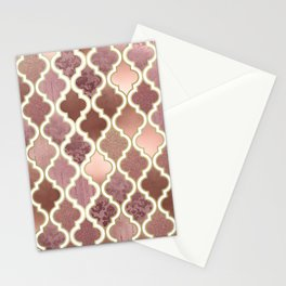 Rosegold Pink and Copper Moroccan Tile Pattern Stationery Cards