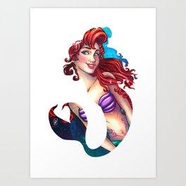 Mermaid Silhouette  Art Print