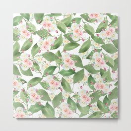 Country chic pink teal green watercolor floral Metal Print