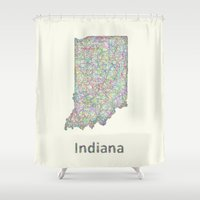 indiana Shower Curtains featuring Indiana map by David Zydd