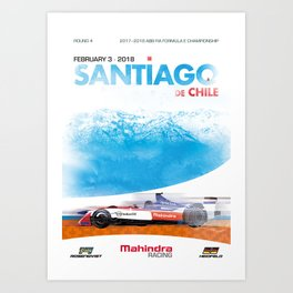 Mahindra Racing FIA Formula E Season 4 Santiago E-Prix Poster Art Print