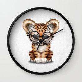 Cute Baby Tiger Cub Wearing Eye Glasses on White Wall Clock
