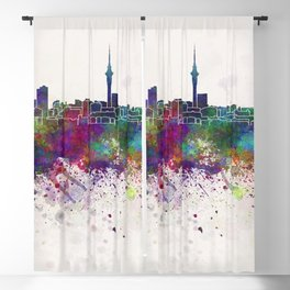 Auckland skyline in watercolor background Blackout Curtain