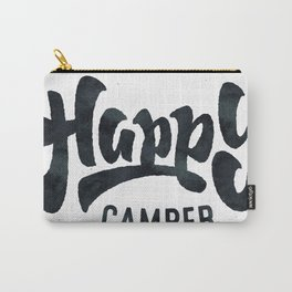 HAPPY CAMPER Black and White Retro Carry-All Pouch