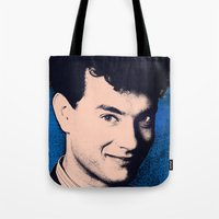 tom selleck Tote Bags featuring tom by alessandro di sessa