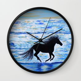 Running Free by the Sea Wall Clock