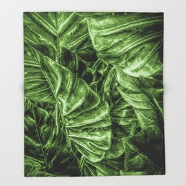 Painted Green Monstera palm leaves by Brian Vegas Throw Blanket