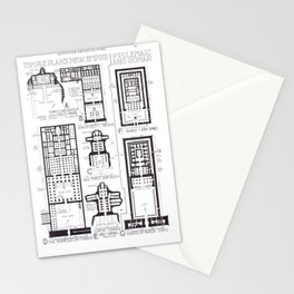 Fletcher's History of Architecture (1946) - Egypt - Temple Plans of New Empire (Ptolemaic & Roman) Stationery Cards