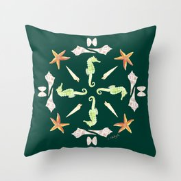 Seahorse Mandala - Watercolor Throw Pillow
