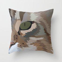 Geometric Fierce Cat Digitally Created Throw Pillow