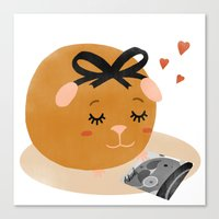 guinea pig Canvas Prints featuring Guinea Pig Portrait 1 by NdKf