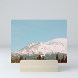 Vintage Landscape Photography Green Pine Forest Snow Mountain Pastel Blue Sky Mini Art Print