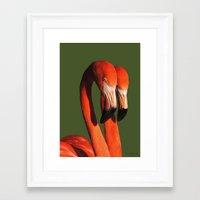 flamingos Framed Art Prints featuring Flamingos by DiDi Higginbotham