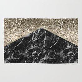 Shimmering golden chevron black marble Rug
