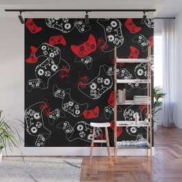 Video Game Red on Black Wall Mural