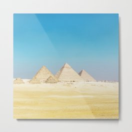 Pyramids Beneath Blue Skies Metal Print