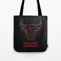 chicago bulls Tote Bags featuring Madhouse Chicago Bulls by beejammerican