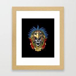 Aztec Eagle Skull Warrior Mask Native Indian Headdress Framed Art Print