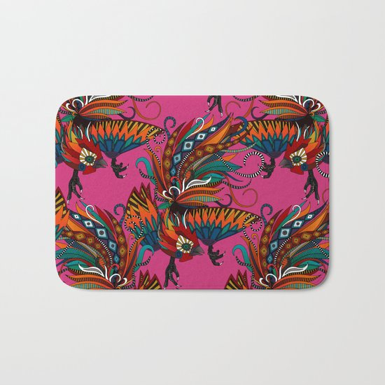 rooster ink pink Bath Mat