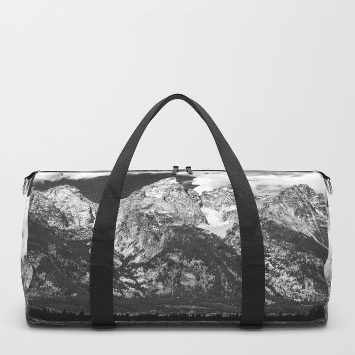 Mountain Summer Escape - Black and White Tetons Duffle Bag