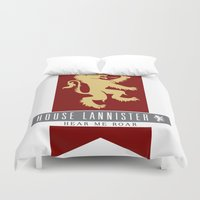 lannister Duvet Covers featuring House Lannister Sigil by P3RF3KT