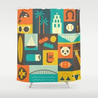 san diego Shower Curtains featuring San Diego  by Ariel Wilson