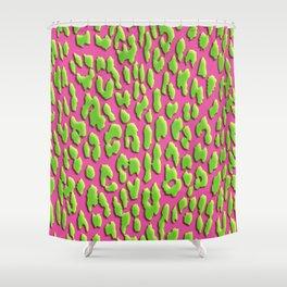 Bright Pink & Green Leopard Print Shower Curtain