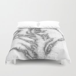 Vintage Map of The Chesapeake Bay (1873) BW Duvet Cover