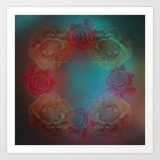 A wreath of roses Art Print