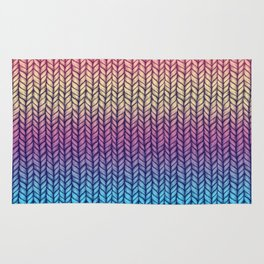 Rainbow Gradient Chunky Knit Pattern Rug