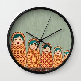 Red and Yellow Matryoshka Nesting Dolls Wall Clock