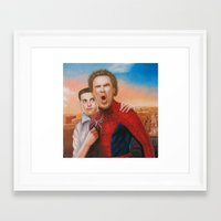 will ferrell Framed Art Prints featuring Will Ferrell as spider man along with Tobey Maguire as Jane by Nobilified