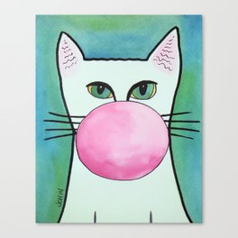 Bubble Gum Cat in Blue Canvas Print